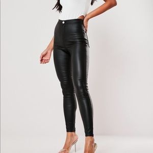 Missguided Vice High Waist Coated skinny jeans